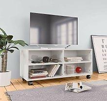 Hommoo Mueble de TV con ruedas aglomerado blanco