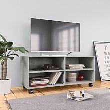 Hommoo Mueble para TV con ruedas aglomerado gris