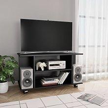 Hommoo Mueble para TV con ruedas aglomerado negro