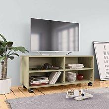 Hommoo Mueble TV con ruedas aglomerado color roble
