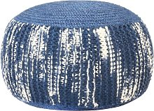 Hommoo Puf tejido a mano de lana azul y blanco
