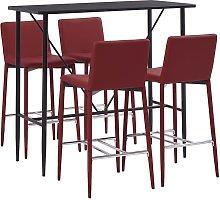 Hommoo Set de mesa alta y taburetes 5 pzas cuero