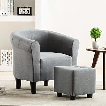 Hommoo Set de sillón con taburete reposapiés 2