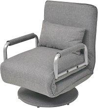 Hommoo Silla giratoria y sofá cama tela gris claro