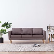 Hommoo Sofá de 3 plazas de tela color gris topo