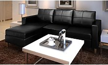 Hommoo Sofá modular de 3 plazas de cuero