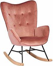 HOMYCASA Silla mecedora de lino con asiento