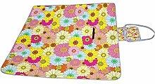 HUI JIN Manta de picnic con diseño floral,