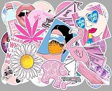 HUNSHA 50 pegatinas de graffiti de color rosa para