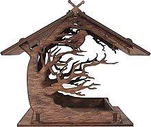 HYKITDAY Comedero de madera para pájaros de