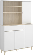 Iberodepot - Mueble Auxiliar Blanco y Natural