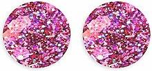 Imanes de nevera con purpurina rosa brillante,