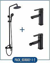 Imex - Pack Serie Roma - barra de ducha negro mate