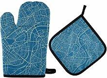 IUBBKI Guantes para Horno Mapa Azul y Blanco de