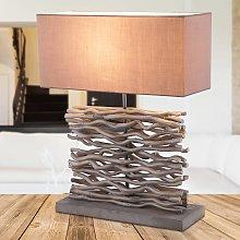 Jamie: lámp. mesa gris c. pata y deco. de madera