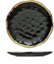 JICJANFENG Plato de Cena El Oro de cerámica Plato