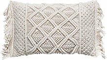 JJA - Cojín de algodón/poliéster macramé marfil