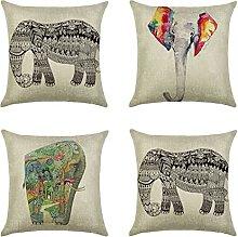 JOVEGSRVA Juego de 4 fundas de cojín de elefante