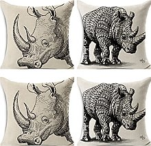 JOVEGSRVA Juego de 4 fundas de cojín de Rhino