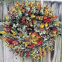 JTBDWOSK Corona de otoño de eucalipto para Puerta