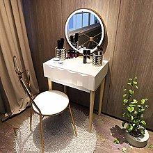 JTN Juego de mesa de maquillaje con espejo ovalado