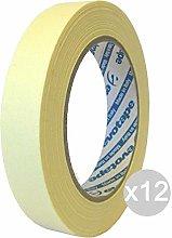 Juego de 12 cintas adhesivas de papel, 25 x 50 m.