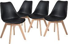 Juego de 4 sillas negro,de madera haya,Silla de