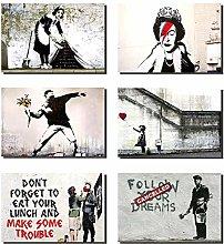 Juego de 6 imanes de nevera Banksy 002