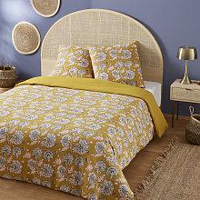 Juego de cama de algodón amarillo mostaza con