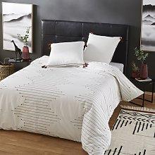 Juego de cama de algodón beige, negro y terracota
