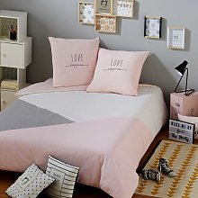 Juego de cama de algodón gris y rosa 220x240