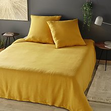 Juego de cama de lino lavado amarillo mostaza