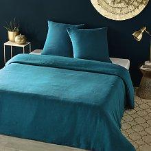 Juego de cama de lino lavado azul intenso 220x240