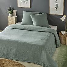 Juego de cama de lino lavado verde jade 240x260