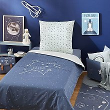 Juego de cama infantil de algodón azul marino con