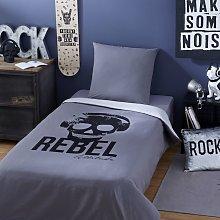 Juego de cama infantil de algodón gris antracita