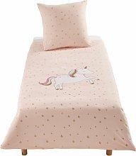 Juego de cama infantil de algodón rosa con