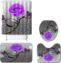 Juego de cortina de ducha de baño rosa púrpura