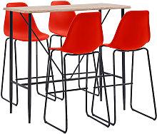 Juego de mesa alta y taburetes 5 piezas plástico