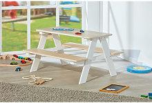 Juego de mesa infantil con bancos, en pino blanco,