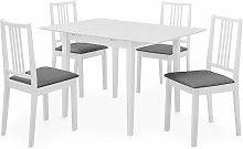 Juego de Muebles de Comedor MDF 5 Piezas Blanco -