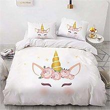 Juego de ropa de cama de unicornio para niñas,