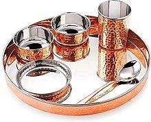 Juego de vajilla Thali de cobre de acero
