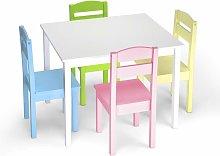 Juego Mueble para Niños Mesa y 4 Sillas de Madera