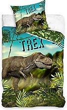 Jurassic Word T-REX - Juego de cama (algodón,