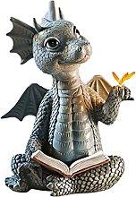 JUSTYINUO Estatua Dragón de jardín Estatua