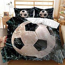 JXING - Juego de funda de edredón 3D de fútbol,