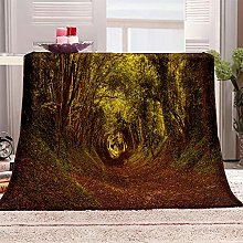 JYSZSD Mantas para sofá de flanela Bosque Verde