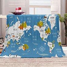 JYSZSD Mantas para sofá de flanela Mapa Azul