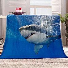 JYSZSD Mantas para sofá de flanela Tiburón Azul